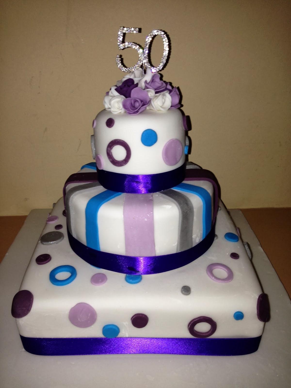 Eileen Atkinson S Celebration Cakes 50th Tiered Birthday Cake