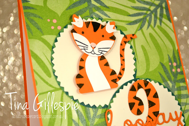 scissorspapercard, Stampin' Up!, Art With Heart, Colour Creations, Foxy Friends Bundle, Birthday Cheer, Tropical Escape DSP, Well Written Framelits, Large Numbers Framelits, Punch Art