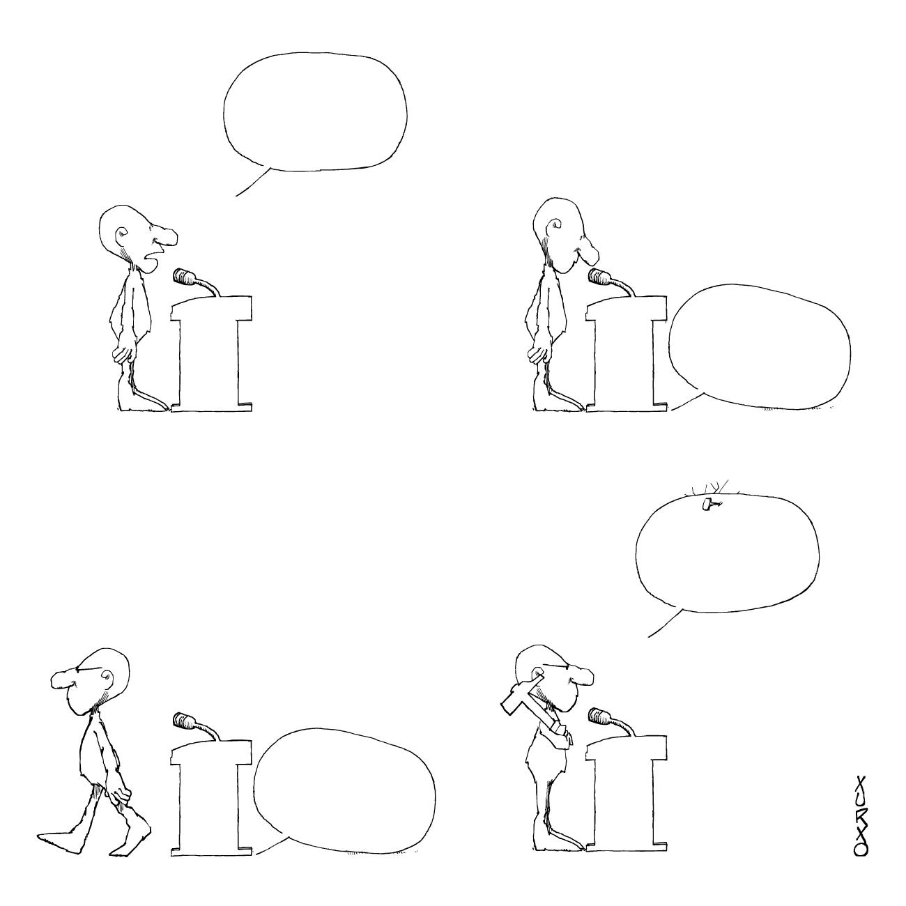 Un conferenciante clavando sus argumentos