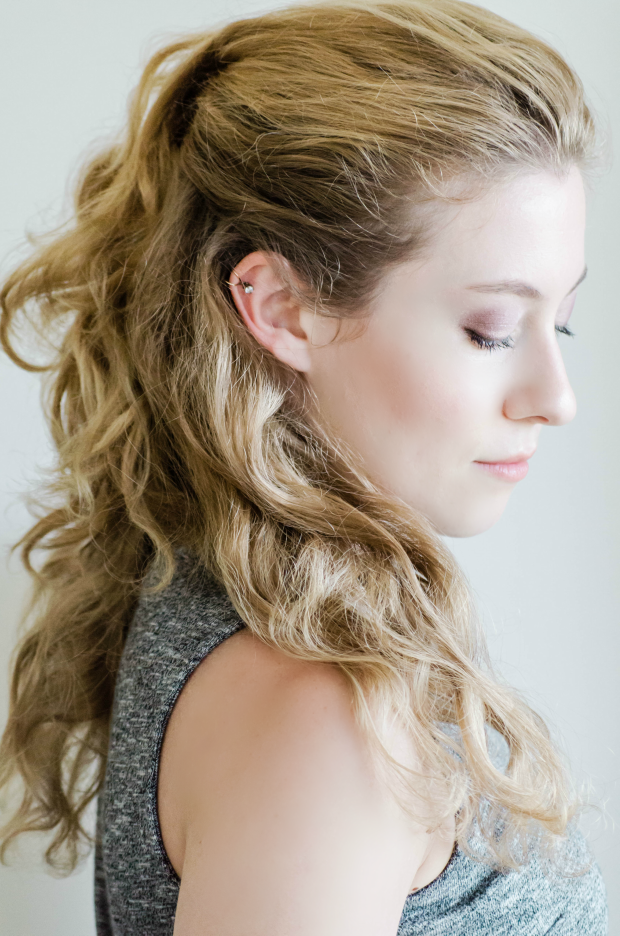 Two Step Half-Up Cascading Hairstyle