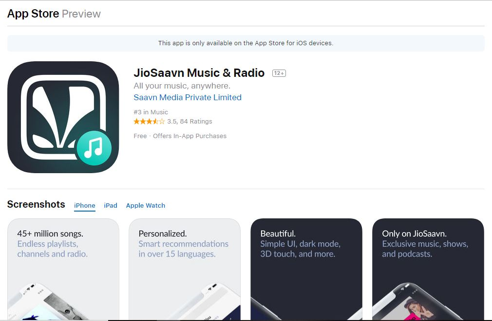 Jio saavn app in the apple app store