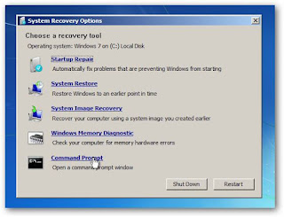system recovery option startup repair