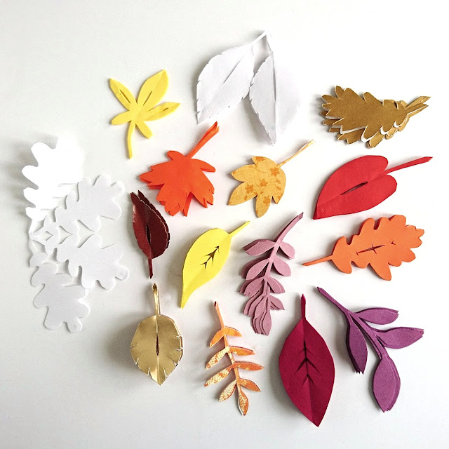 Leaf shapes for leafy paper snowflakes