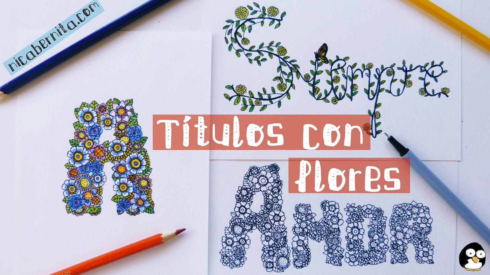 Doodle Art Letras Decoradas Con Flores Personaliza Tus Cuadernos