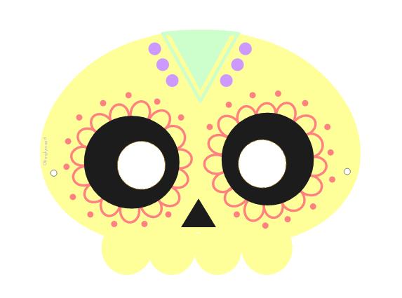 Masque Halloween à imprimer télécharger Gratuit Free Squelette mexicain Calavera