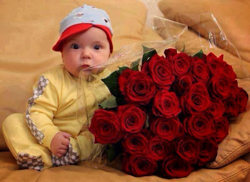 kırmızı gül ile güzel bebek