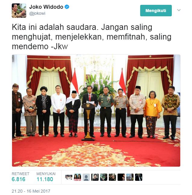 Cuitan Presiden Jokowi sudah bagus