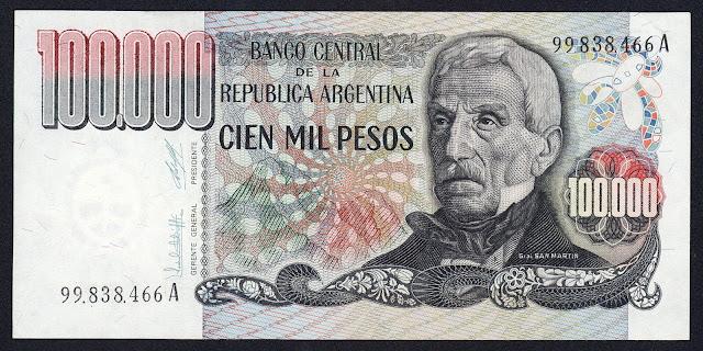 Argentina Banknotes 100000 Pesos banknote 1980 General Jose de San Martin