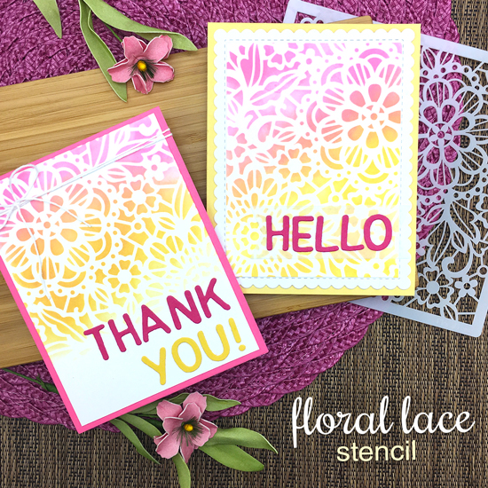 Stenciled Lace Cards by Jennifer Jackson | Essential Alphabet Die Set & NEW Floral Lace Stencil by Newton's Nook Designs #newtonsnook #handmade