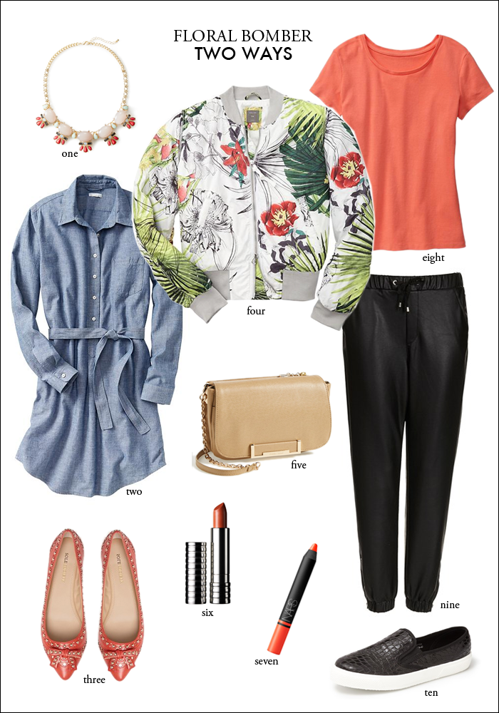 floral bomber, chambray shirtdress, how to wear shirt dress, how to wear track pants, how to wear sneakers