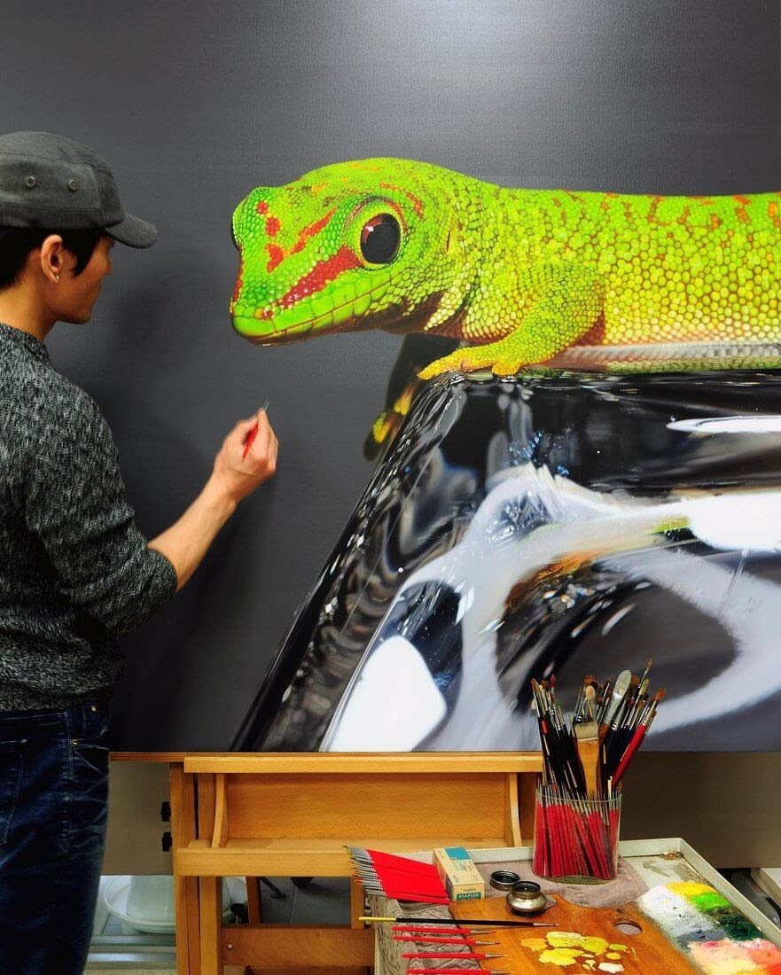 04-Gecko-Young-sung-Kim-Realistic-Animal-Oil-Paintings-on-Canvas-www-designstack-co