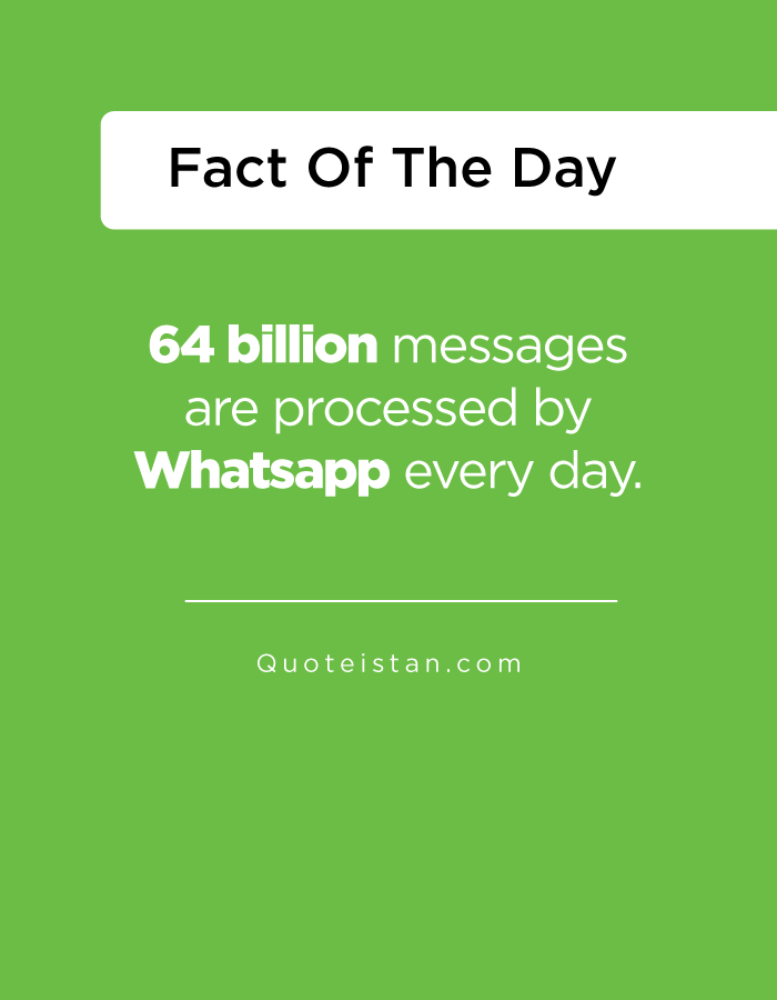 64 billion messages are processed by Whatsapp every day.