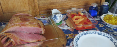 meal of ham and pineapple