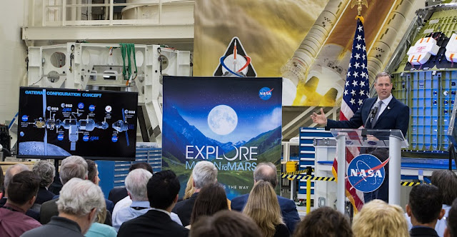 NASA Administrator Jim Bridenstine talks about the Gateway that will be in lunar orbit during an event highlighting the agency's progress toward sending astronauts to the Moon and on to Mars, Monday, March 11, 2019, at the Neil Armstrong Operations and Checkout Building at NASA's Kennedy Space Center in Florida. Representatives from the Kennedy workforce, news media, and social media were in attendance. NASA's Orion spacecraft, which is scheduled to be flown on Exploration Mission-2, was on display. For information on NASA's Moon to Mars plans, visit: www.nasa.gov/moontomars Photo credit: (NASA/Aubrey Gemignani)