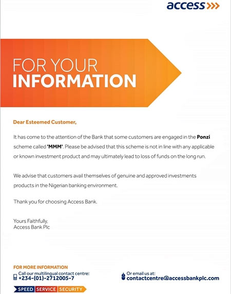 "Access Bank warns customers to stay away from MMM ""Ponzi Scheme"""