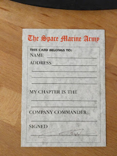 Army Collecting Card - Space Marines - 2nd Edition - Back