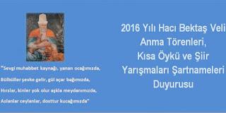 Hacı Bektaş Veli 2016 Şiir Yarışmaları Şartnamesi