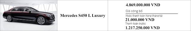 Giá xe Mercedes S450 L Luxury 2019 tại Mercedes Trường Chinh