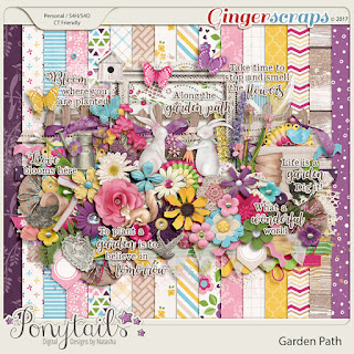 Creative Team, Annemarie, for GingerScraps – Buffet Goodies for April (Save 50%) - April favorites 2 Templates by Tinci Designs, and Garden Path Bundle, Ponytails Designs and Coordinating Freebie