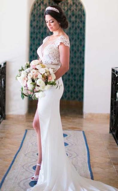 Nicole Phelps vestido de noiva com fenda