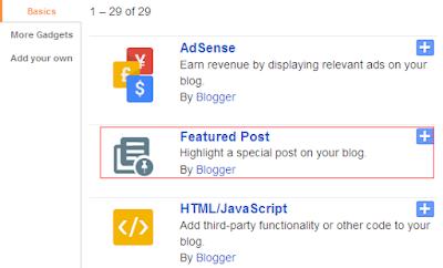 Widget Featured Post Default Blogger