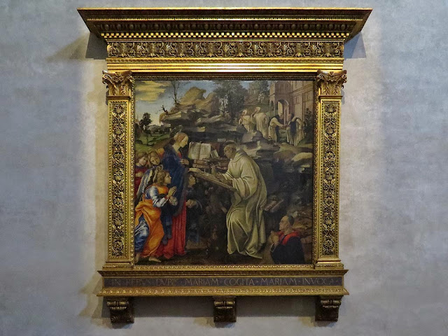 Apparizione della Vergine a san Bernardo, Apparition of the Virgin to St Bernard, by Filippino Lippi, Badia Fiorentina, Florence