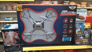 drone toy with bread on shelf in background