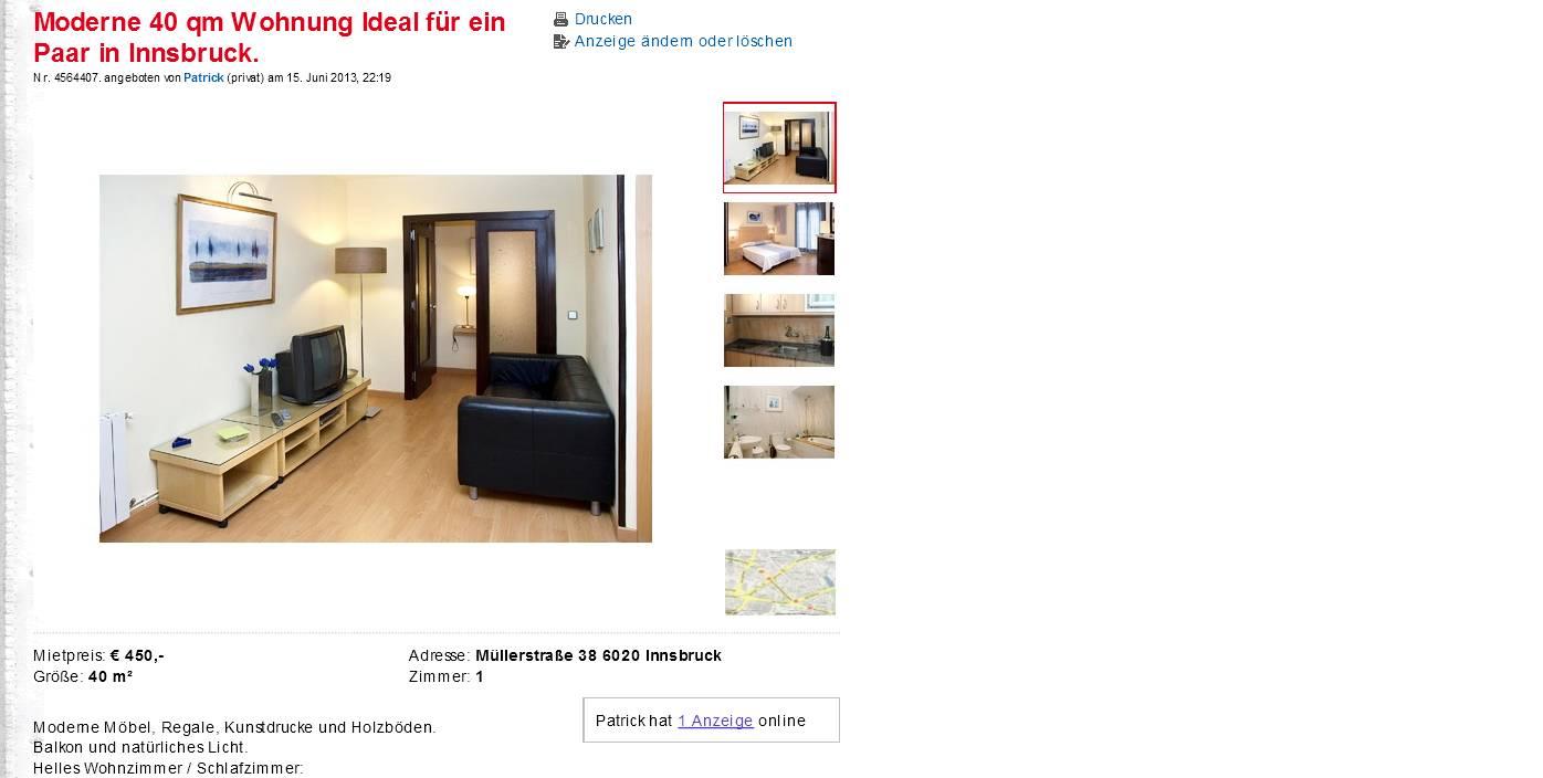 moderne 40 qm wohnung ideal f r ein paar in innsbruck m llerstra e. Black Bedroom Furniture Sets. Home Design Ideas