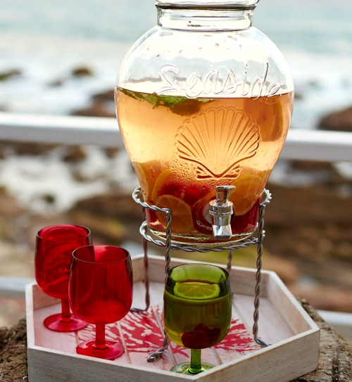 Glass Drink Dispenser with Seaside and Shell Motif