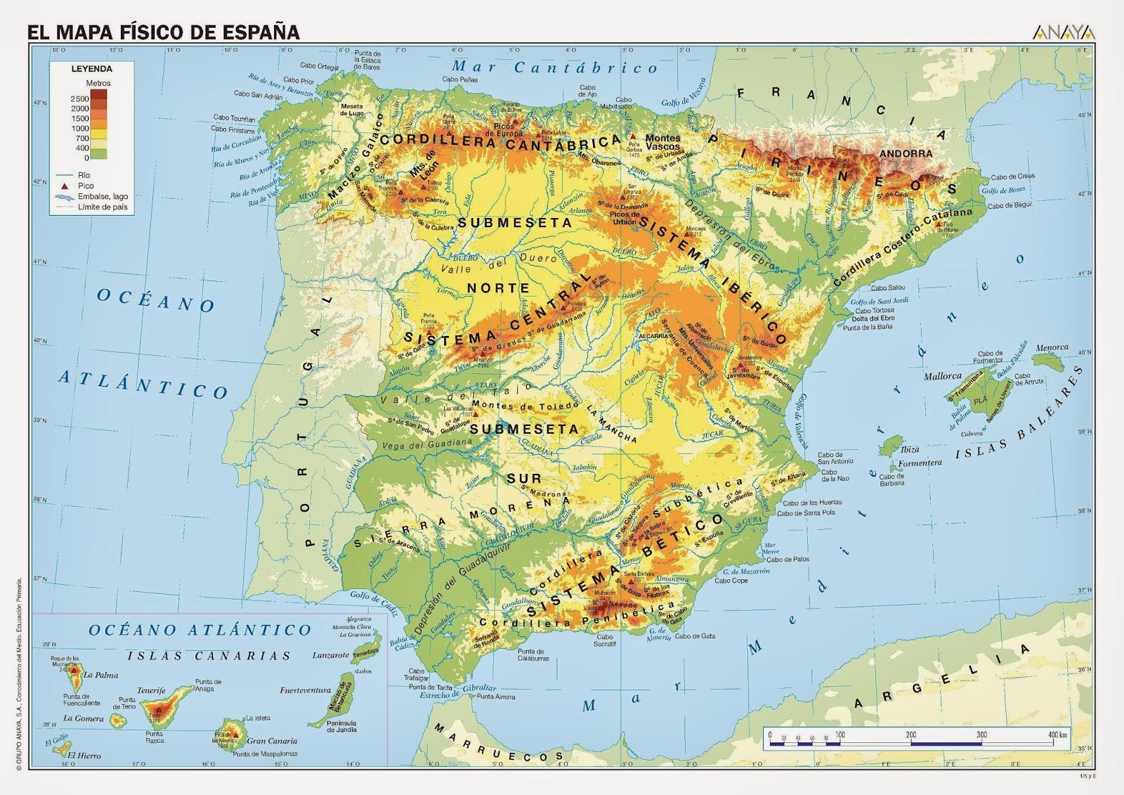 Mapa Picos De España.Quinto De Primaria Tarea 2 Mapa Fisico O Politico