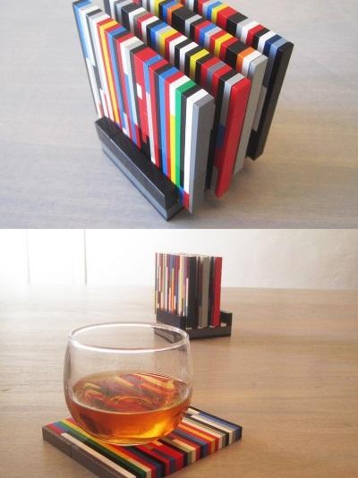 5. Tatakan gelas dari batangan lego