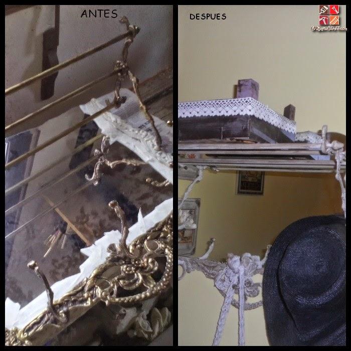 antes y después de un perchero con pintura a la tiza