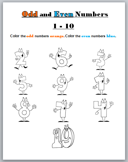 Learning Ideas - Grades K-8: Odd and Even Numbers Coloring Page