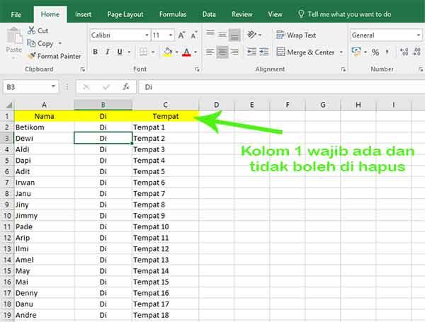 Microsoft Excel - membuat nama undangan untuk label