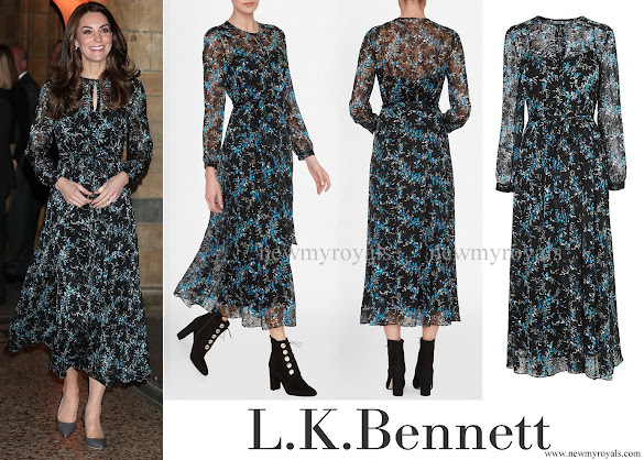 Kate Middleton wore L.K. Bennett Cersei Evergreen Silk Dress, The Duchess of Cambridge style