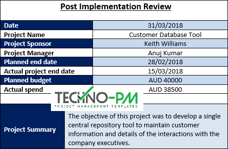 Post Implementation Review, post project review template, Post Implementation Review Template