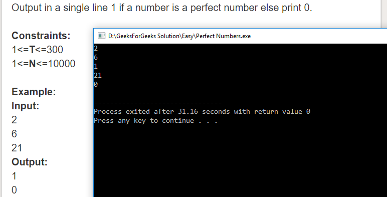 "Geeksforgeeks Solution For "" Perfect Numbers """