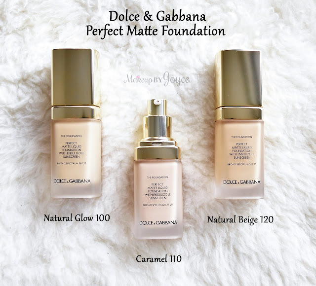 Dolce & Gabbana Perfect Matte Foundation Natural Glow 100 Caramel 110 Natural Beige 120 Swatch