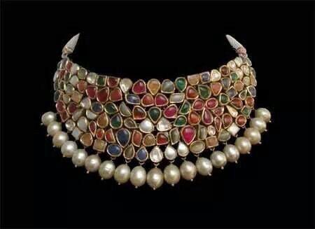 Navaratan Stone Grand Choker with Pearls