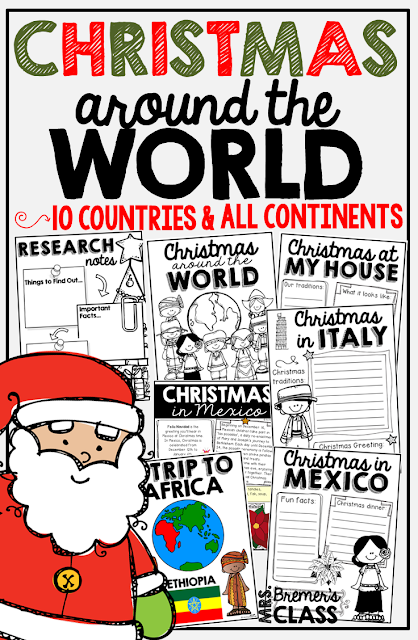Christmas Around the World NO PREP activity pack featuring 10 countries and every inhabited continent! This pack includes information posters about each country's Christmas traditions and customs, graphic organizers, student work pages, student passports, and posters featuring maps and flags. Perfect for December! Common Core aligned. Grades 1-3 #1stgrade #2ndgrade #3rdgrade #Christmas #christmasaroundtheworld #socialstudies