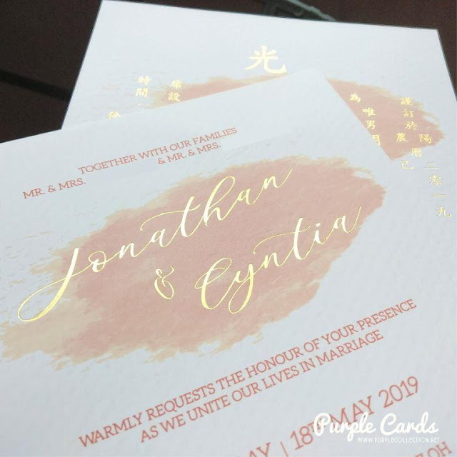 malaysia wedding card, kad kahwin, gold stamping, rose gold, chinese, save the date, tie the knot, elegant, bespoke, customise, custom made, design, designer, vendor, supplier, textured card, matt, art card, offset, digital print, printer, pink, white, express, online order, t6 light grey sungai buloh, decoration,  joint dinner, template, format, western