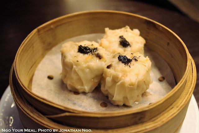 Soft Quail Egg, Iberico Pork, Black Truffle Siu Mai at Mott 32 in Hong Kong
