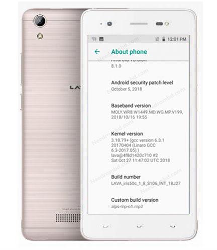 Lava iris 50c Flash File   MT6580 8 1 0 Oreo (S106)   New