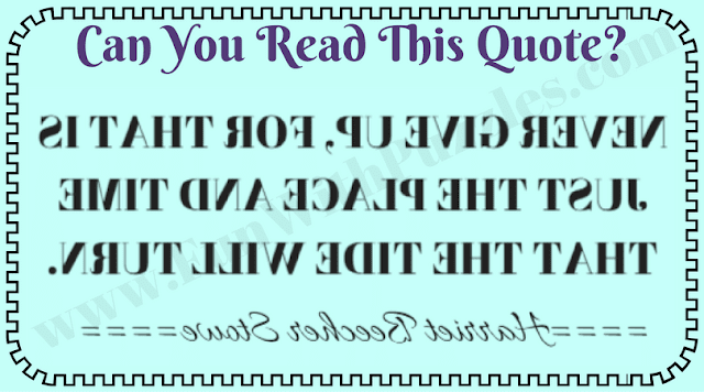 Can you Read this quote backward?