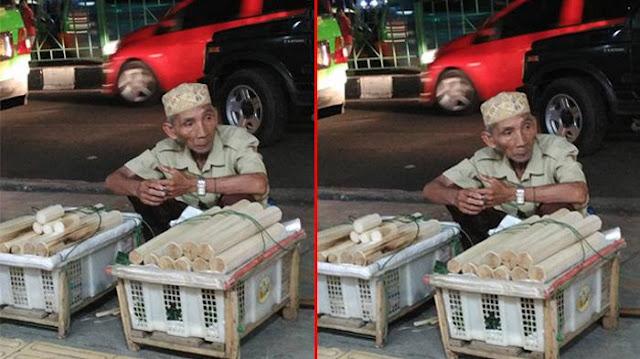 Kisah Kakek Renta Penjual Lemang Bogor Yang Sepi Pembeli Ini Membuat Netizen Terharu