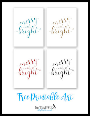 Don't Panic Design Merry & Bright Free Printable Posters Christmas Art Holiday Art Glitter Art