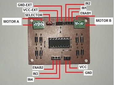 Kit circuito puente H conexiones.