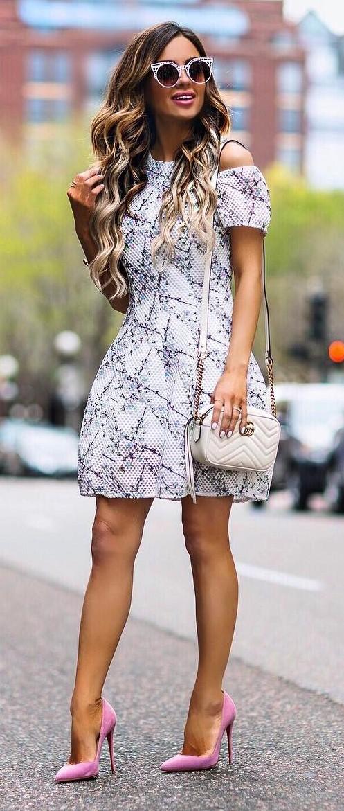 ootd: heels + dress + bag