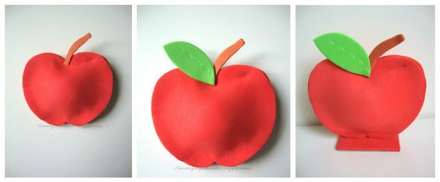 paso a paso pegamos las piezas de nuestra manzana porta notas