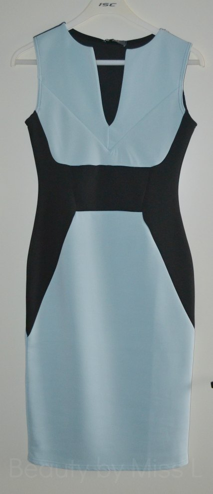 light blue & black colour block bodycon dress